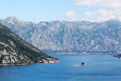 View of Kotor Bay, Montenegro. The Bay of Kotor is the name of the winding bay of the Adriatic Sea in southwestern Montenegro and the region of Montenegro Stock Image