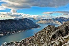 View of Kotor Bay Mountains, Montenegro Stock Photo