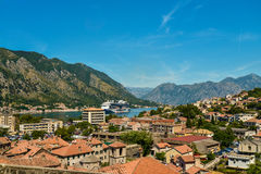 View on Kotor bay and Old Town. From Lovcen Mountain. Montenegro Stock Image
