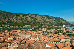 View on Kotor bay and Old Town. From Lovcen Mountain. Montenegro Royalty Free Stock Photos