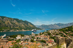 View on Kotor bay and Old Town. From Lovcen Mountain. Montenegro Stock Images