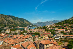 View on Kotor bay and Old Town. From Lovcen Mountain. Montenegro Royalty Free Stock Photo
