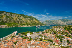 View on Kotor bay and Old Town. From Lovcen Mountain. Montenegro Royalty Free Stock Images