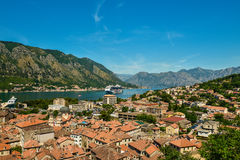 View on Kotor bay and Old Town. From Lovcen Mountain. Montenegro Royalty Free Stock Photography