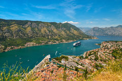 View on Kotor bay. And Old Town from Lovcen Mountain. Montenegro Royalty Free Stock Photos