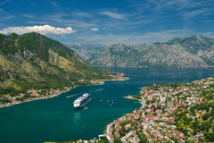 View on Kotor bay. And Old Town from Lovcen Mountain. Montenegro Royalty Free Stock Photography