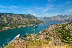 View on Kotor bay. And Old Town from Lovcen Mountain. Montenegro Stock Photo