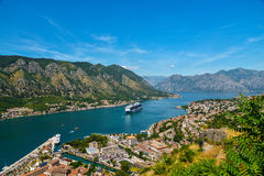 View on Kotor bay and Old Town. From Lovcen Mountain. Montenegro Stock Photos