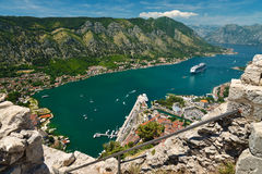 View on Kotor bay. And Old Town from Lovcen Mountain. Montenegro Stock Photography