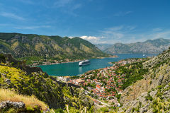 View on Kotor bay. And Old Town from Lovcen Mountain. Montenegro Royalty Free Stock Photo