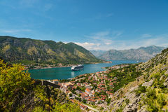 View on Kotor bay. And Old Town from Lovcen Mountain. Montenegro Stock Photos
