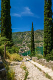 View on Kotor bay and Old Town. View on Kotor bay and port of Kotor from Lovcen Mountain. Montenegro Royalty Free Stock Image