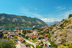 View on Kotor bay. And town from Lovcen Mountain. Montenegro Royalty Free Stock Image