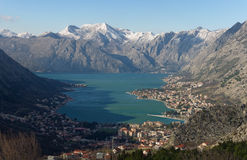 View of Kotor city and Bay of Kotor. Montenegro Stock Images