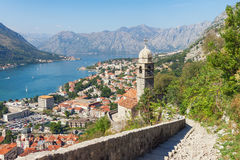 View of Kotor city from the road to Kotor fortress. Montenegro Royalty Free Stock Photo