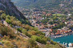 View of Kotor city and road to Kotor fortress. Montenegro Stock Photos