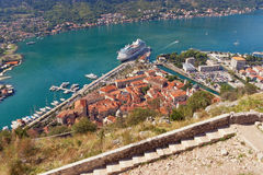 View of Kotor city from the road to old fortress. Montenegro Stock Photos