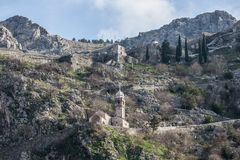 View of Kotor Fortress, Montenegro. Royalty Free Stock Photos