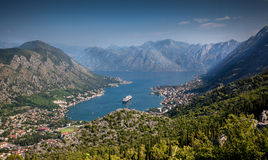 View on Kotor harbor at sunny day from mountain Lovcen Stock Image