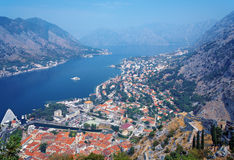 View of the Kotor and Kotor Bay, Montenegro Royalty Free Stock Photos