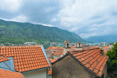 View of Kotor old town from Lovcen Mountain Royalty Free Stock Images
