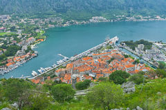 View of Kotor old town from Lovcen Mountain Royalty Free Stock Photography