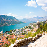 View of Kotor Old Town from Lovcen Mountain Stock Image