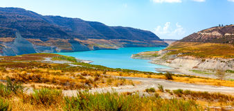 View of the Kouris Reservoir. Cyprus. Royalty Free Stock Photo