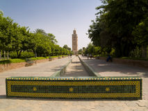View on the Koutoubia. Koutoubia Mosque in Marrakesh, Marocco. Sunny summer day Royalty Free Stock Photos