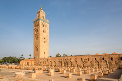 View at the Koutoubia Mosque with minaret in Marrakesh ,Morocco Stock Photos