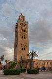 View at the Koutoubia Mosque with minaret in Marrakesh Royalty Free Stock Images