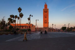 View of the Koutubia Mosque, the most popular mosque in Marrakec Royalty Free Stock Photography