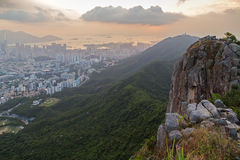View of Kowloon and Lion Rock in Hong Kong Royalty Free Stock Photos