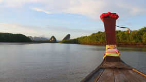 View of Krabi from the front of a boat Royalty Free Stock Photography