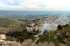View from Krak des Chevaliers. Krak des Chevaliers is a Crusader castle in Syria Royalty Free Stock Photo