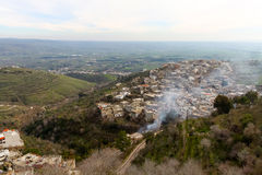 View from Krak des Chevaliers, Syria. Krak des Chevaliers is a Crusader castle in Syria Stock Photos