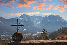 View from kramer memorial to zugspitze mass at sunset Royalty Free Stock Photos