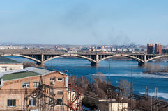 View on Krasnoyarsk and bridge over the river Stock Image