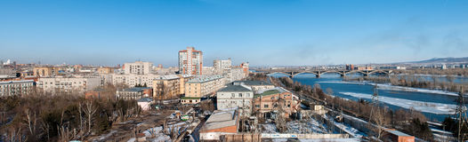 View on Krasnoyarsk and bridge over the river Stock Images