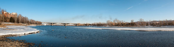 View on Krasnoyarsk and bridge over the river Royalty Free Stock Images