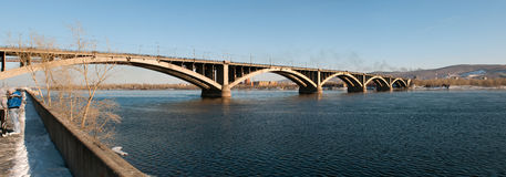 View on Krasnoyarsk and bridge over the river Royalty Free Stock Photos