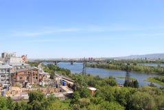 View on Krasnoyarsk, communal bridge Stock Image