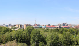 View on Krasnoyarsk with Gorky Park top Royalty Free Stock Images