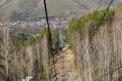 View of Krasnoyarsk. View on Krasnoyarsk from mountain lift Royalty Free Stock Image