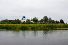 View of the Kremlin on the banks of the river Kamenka in Suzdal. Russia. Royalty Free Stock Photo