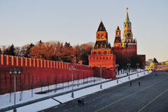 View of Kremlin brick wall on winter Stock Image