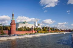Summer View of the Moscow Kremlin. View of the Kremlin from the bridge stock photos