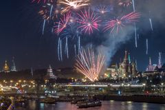 Kremlin with City Day fireworks. View of Kremlin with City Day fireworks stock images