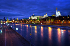View on Kremlin and embankment. Night view on Kremlin and embankment. Moscow, Russia royalty free stock photography