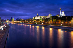 View on Kremlin and embankment. Night view on Kremlin and embankment. Moscow, Russia stock image